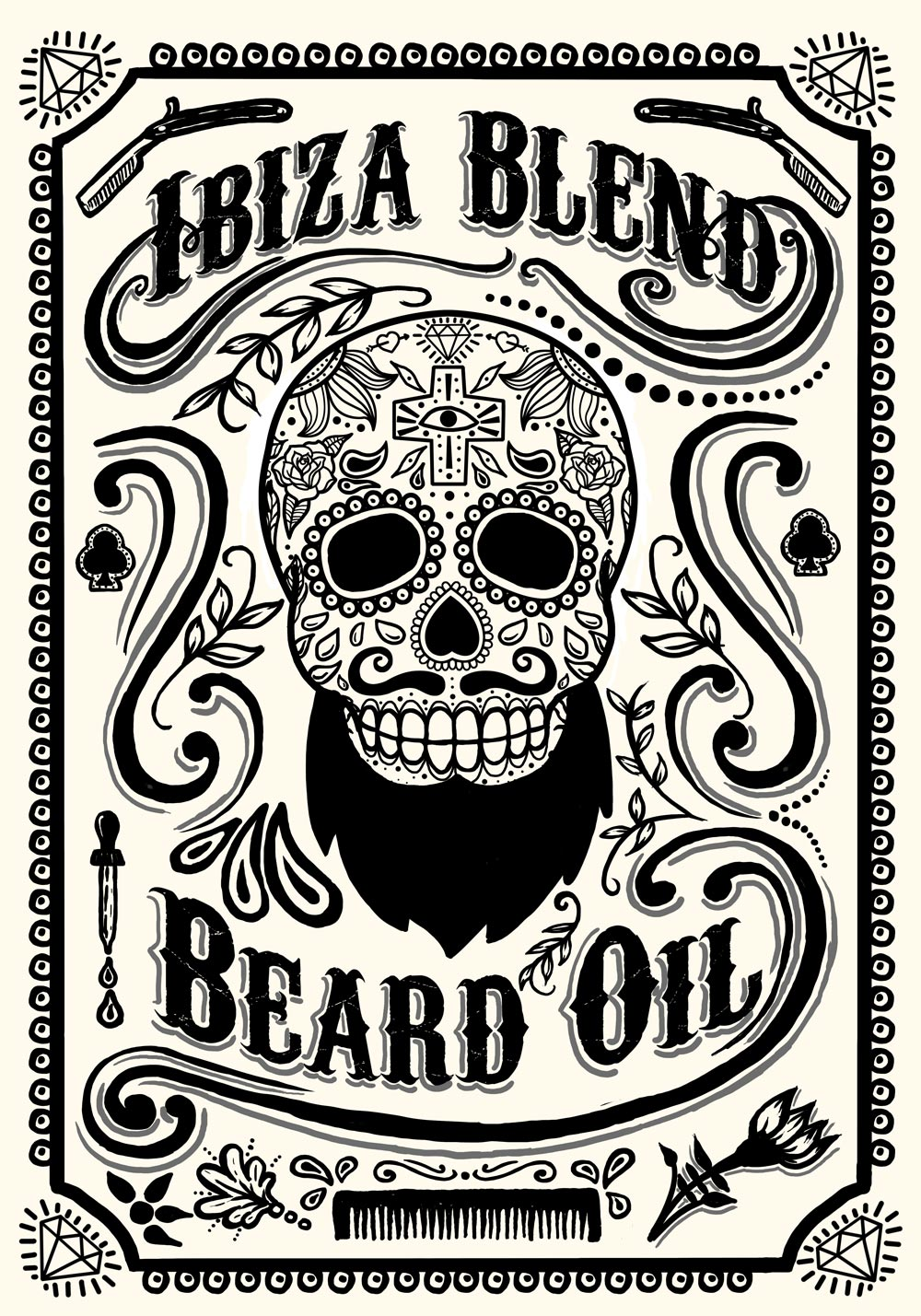 Ibiza Blend Beard Oil Label design | Oscar Postigo