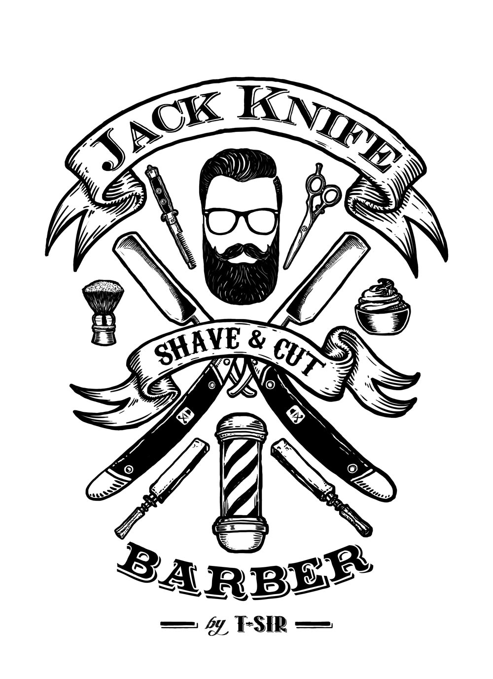 Jack Knife Barber design | Oscar Postigo